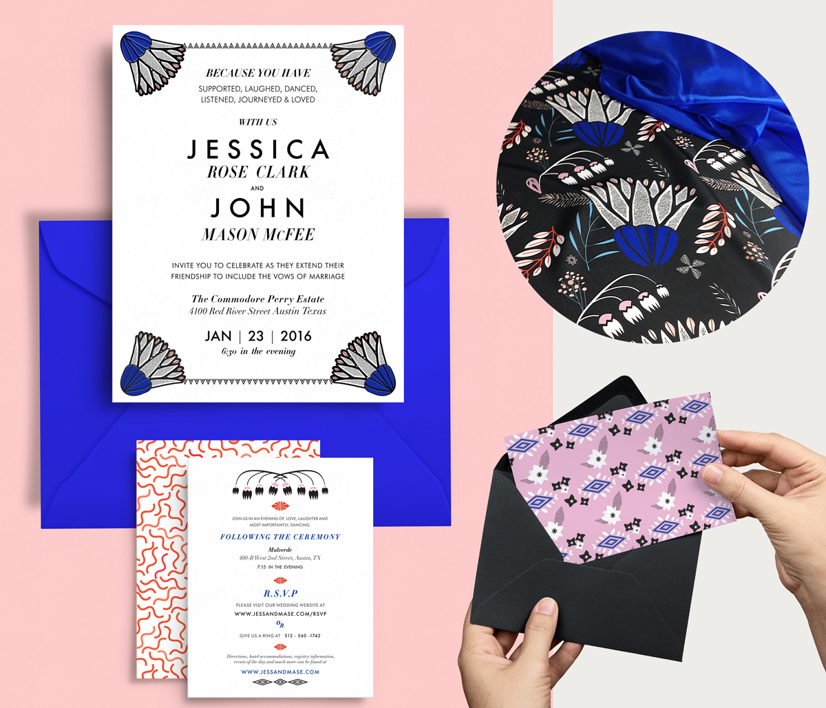 Modern floral Wedding fabric and Stationery Set